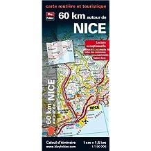 60 km autour de Nice, carte routière et touristique