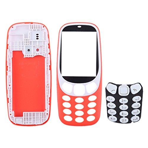 KANEED Parti di Ricambio, Cover per alloggiamento Completo con Tastiera per Nokia 3310 (Nero) (Colore : Red)