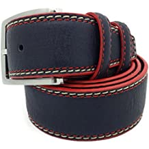 """Two Tone Navy Italian Leather 1.25"""" Trouser/Jean Belt with Red Edging"""