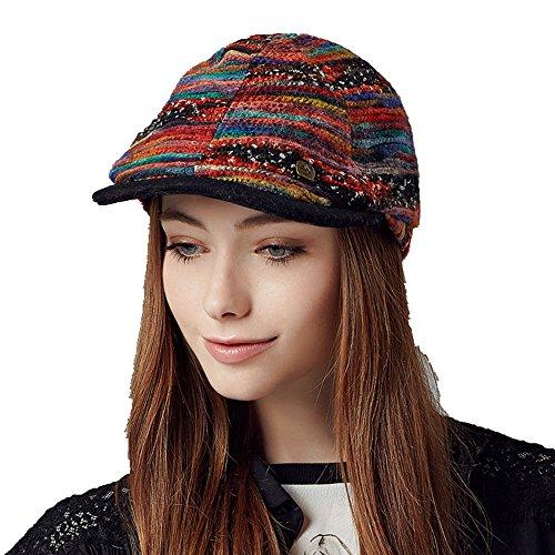 Kenmont femmes automne hiver dame décontractée gavroche chauffeur de taxi pic chapeau de pare-bouchon de lierre Rouge
