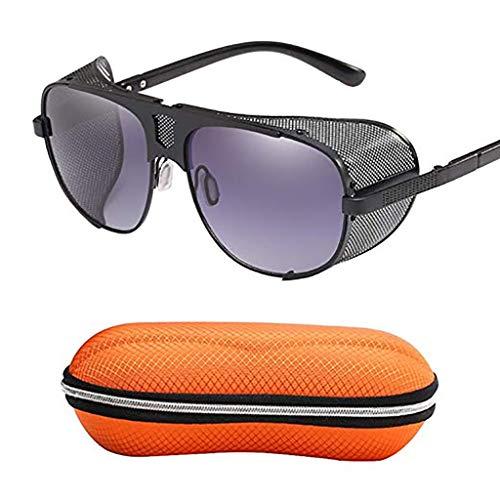 YHDD Brille Polarisierte Sport-Sonnenbrille für Herren, Anti-Blend-HD-Pilotenbrille, winddichtes Steampunk-Fahren, geeignet für Outdoor-Aktivitäten, Reisefotografie, Einkaufen, Wandern (Farbe : F)