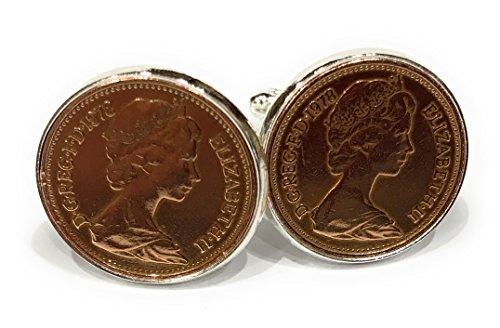 Manschettenknöpfe, Geburtstags-/Jubiläums-1-Pence-Münzen aus dem Jahre 1978, als Geschenk für einen 40er (1978 Münze)