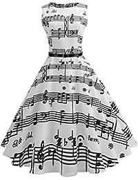 a4769fcec4b Vintage rétro 1950 s Audrey Hepburn imprimée Note de Musique Manche sans Robe  de soirée décontractée Cocktail