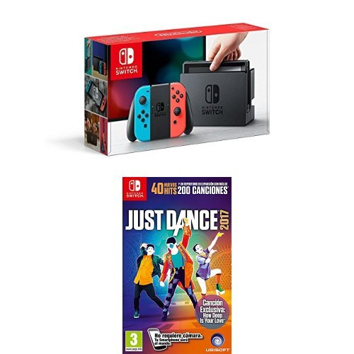 Nintendo Switch - Consola Color Azul Neón/Rojo Neón + Just Dance 2017