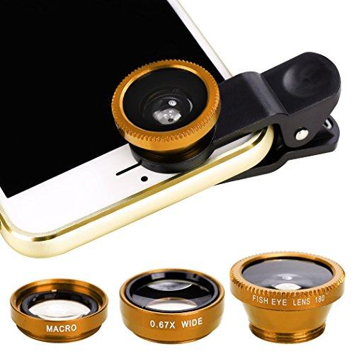 Xinnio Universal-3-in-1 Kamera-Objektiv, 0,67 x Weitwinkelobjektiv + 180 ° Fischaugenobjektiv, Makro-Kamera-Objektiv, Clip-On für iPhone XR/XS/XS MAX/X/ 8 7 6 Plus, Samsung Smartphones, M, gelb Acc-wireless-kit