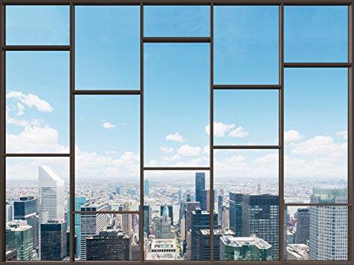 1art1 Stadtbilder - Fenster Mit Ausblick Auf Die Skyline Der Großstadt, 2-Teilig Fototapete Poster-Tapete 240 x 180 cm