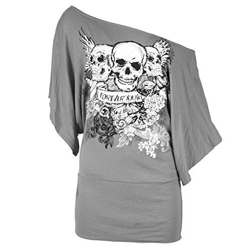 Damen Slash Schulterfrei Totenkopf Aufdruck Fledermausärmel Langärmliges Oberteil / T-Shirt Grau