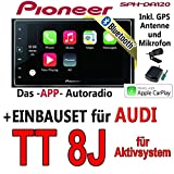 Audi TT 8J Aktiv - Pioneer SPH-DA120 - 2DIN USB Bluetooth Apple CarPlay Autoradio - Einbauset