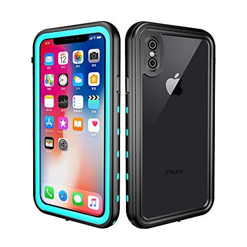 redpepper iPhone X/XS Funda Sumergible, Carcasa Impermeable [Antigolpes] Protección 360º [Certificado IP68] Resistente al Agua [Funda Extrema] Compatible con Carga Inalámbrica - Negro y Azul