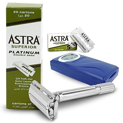 Astra superior platinum 100 lamette da barba con rasoio di sicurezza shaving factory