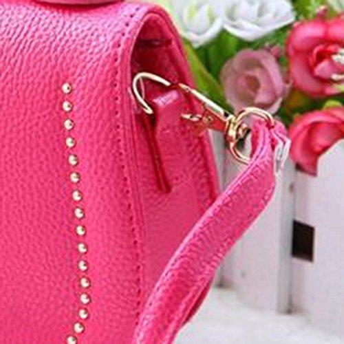 Happy Cherry Kleines Mädchen Tasche Kinder Umhängetasche Mode Frauen Schultertasche PU Leder Handtasche Mit Kaiserkrone Verstellbarer Schultergurt Taschen Kindertasche Girls Bag 16 * 6 * 12cm - Gold Rosarot