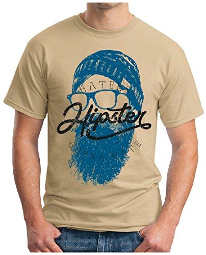 OM3 - HIPSTER-HATERS - T-Shirt GEEK, S - 5XL Khaki