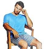 Herren Zweiteiliger Schlafanzug 100% Baumwolle kurzer Pyjama Anzug softweich Nachtwäsche Shorty T-Shirt und Hose 2-TLG Set Kurzarm 5 Farben (Hellblau, L - 50)