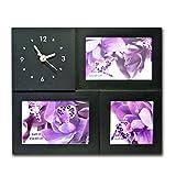 (623) Fotorahmen Bilderrahmen Collage Rahmen Antik Family mit Uhr weiß schwarz Bild (Schwarz)