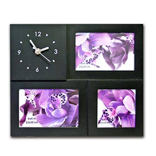 (623) Fotorahmen Bilderrahmen Collage Rahmen Antik Family mit Uhr weiß schwarz Bild (Schwarz) (Bilderrahmen Uhr Collage)