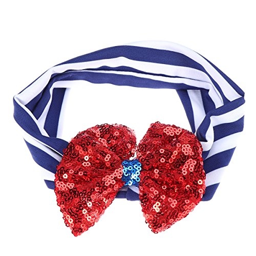 Stripe Headbands Sequin Bowknot Turban Head Wrap Knotted Hairband for Baby Girl (Blue and Double Color)