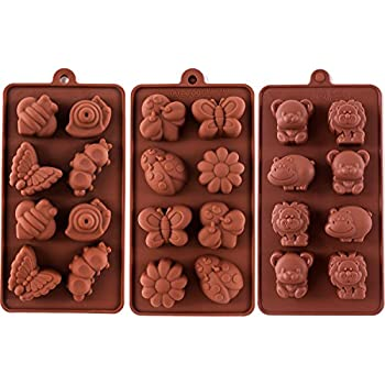 Silicone Moulds Non Stick Chocolate Candy Mouldsoap Moulds Silicone Baking Mould Making Kit Set Of 3 Forest Theme With Different Shapes
