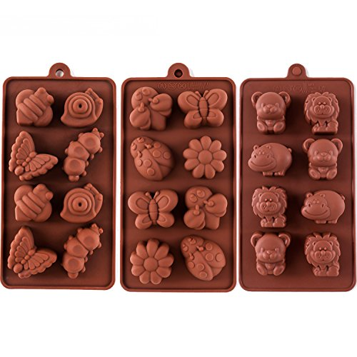 Silikonformen antihaftbeschichtet Schokoladenform Seife Formen Silikon Backform Set 3 Stück Wald Design mit verschiedenen Formen Tiere, schön & Spaß für Kinder