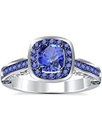 Silvernshine 2Ct Asscher Cut Tanzanite CZ Dimoands 14K White Gold Plated Engagement & Wedding Ring