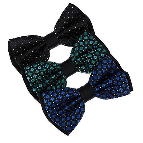 DBE3F10 bleu noir ¨¤ carreaux Sea Green microfibre pr¨¦-attach¨¦ N?ud papillons 3 ensemble de paquetages par Dan Smith