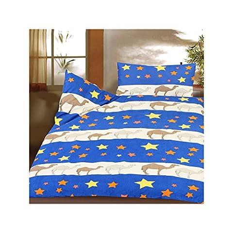 Enfants flanelle parure Lit 100x 135cm 100% coton avec fermeture Éclair doux Bleu Étoiles de Chameau, Coton, bleu,
