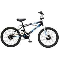 "Flite Punisher Kids' Freestyle Bike Black/Multicolour, 11"" inch steel frame, 1 speed 360 degrees rotor-head (giro) steel bmx bars with cross-brace"