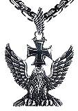 Großer Adler Anhänger aus Edelstahl mit schwarz-silberner Königskette, 4,5 mm dick, 55-60 cm lang