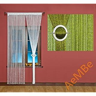 AeMBe - Fadenvorhang Fadengardine Türvorhang - 100cm X 200cm - Grün / Silberfaden - Höchste Qualität