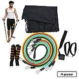 OWIKAR Bande di Resistenza, 11PCS/Set Esercizio Allenamento Fitness Stretching Fasce Elastiche Corda Cintura Gambe Caviglia Cinghie per allenamenti in casa, Yoga, Pilates, Fisioterapia palestre