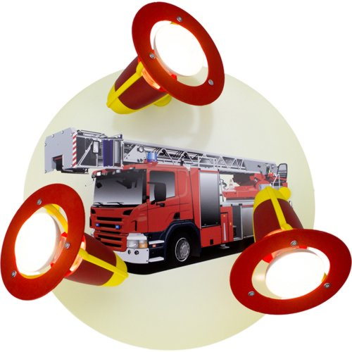 feuerwehrlampe Elobra Kinderzimmerlampe Feuerwehrauto, rot gelb, 127346