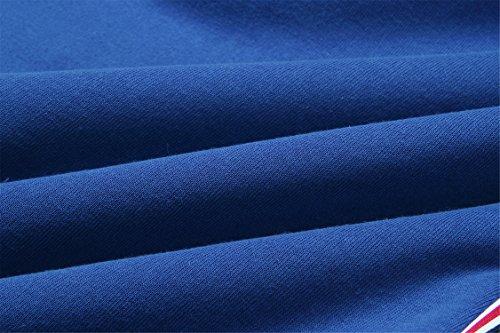 Hiver épais Chaud Manches Longues Sweat à capuche Hoodie doublés de peluche Lined Varsity à Rayures Rayée Coton Sweatshirt Sweat-shirt Haut Top Bleu