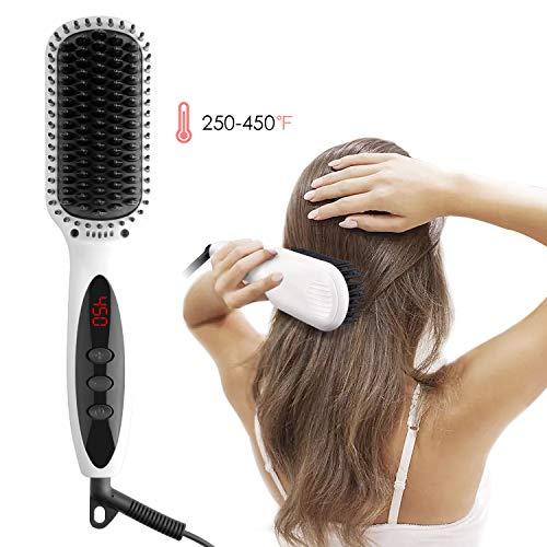 glättbürste, Ionischer Haarglätter Bürste Bart Haarbürste mit Keramik Anti Verbrennung Glätteisen Bürste LED-Display Einstellbare Temperatur 120°C-230°C Tragbare Glättungbürste ()