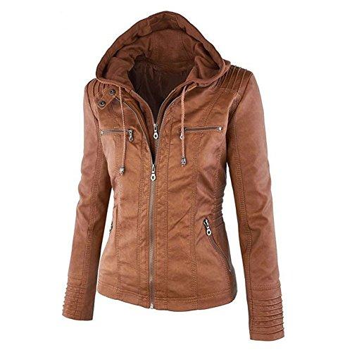 Minetom Donna Stile Bomber Invernali Manica Lunga Felpa con Cappuccio Zipper Cardigan Cappotto Giacca Giacche Jacket Marrone