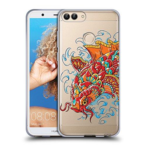 Head case designs ufficiale bioworkz tattoo koi decorato decorazioni colorate 4 cover morbida in gel per huawei p smart/enjoy 7s