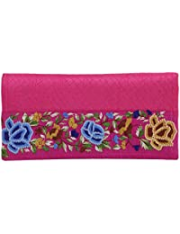 Literacy India Indha Hand Embroidery Work From Kolkata Clutch Purse For Women In Pink Color
