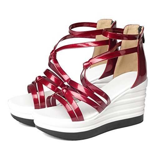COOLCEPT Damen Mode Knochelriemchen Sandalen Cut Out Keilabsatz Open Toe Schuhe Zipper Rot
