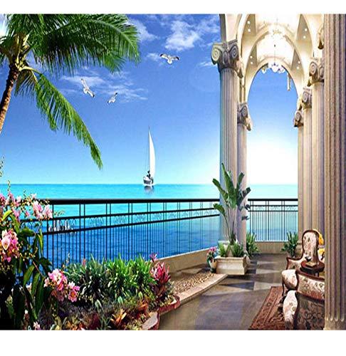 Rureng Tapeten-Gewohnheitswandbildbalkonenküste-Kokosnussbaum-Hintergrundausgangsdekoration Fernsehmöbel-Sofa-Tapetenpapier Der Wand 3D Der Wand-280X200Cm