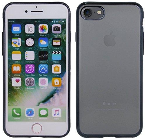 TPU SchutzHülle für Iphone 8 Silikon Hülle Etui Case Cover Silikontasche in Transparent mit Gold-Umrandung Silikonschale Tasche Bumper Zubehör @ Energmix Schwarz