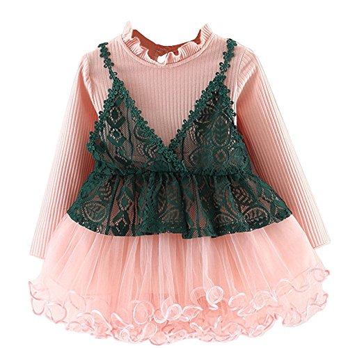 IZHH Mädchen Kleidung Mesh Prinzessin Kleid,Kinder Kostüm Kleinkind Kinder Baby Langarm Skrit Gaze Einfarbig Mode Tops Party Kleidung Ostergeschenk Festliche ()