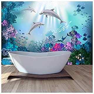 azutura Dolphin Wall Mural Under The Sea Photo Wallpaper Girls Bedroom Home Decor available in 8 Sizes Large Digital