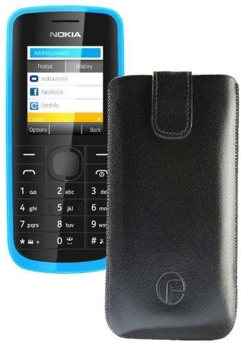 Original Favory Etui Tasche für / Nokia 108 Dual SIM / Leder Etui Handytasche Ledertasche Schutzhülle Case Hülle Lasche mit Rückzugfunktion* in schwarz