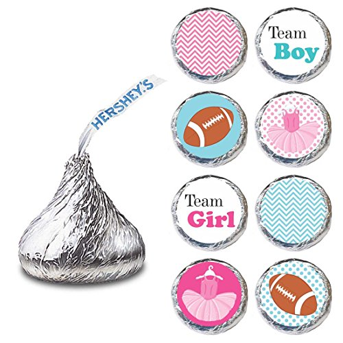 Adorebynat Party Decorations - EU Tutu und Fußball-Geschlecht Etikette für Hershey S Küsse Pralinen - Süßigkeiten Aufkleber - Set 240 (Karten Ihnen Baby-dusche Danken)