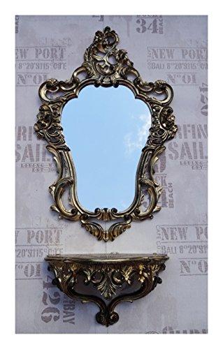 2-teiliges Set in Gold Schwarz Dualcolor bestehend aus Wandspiegel + Wandkonsole Oval Barock Antik 50x76cm Flur Eingangsmöbel Möbel Konsole Ablage Spiegel + Wandregal