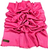 CJ Apparel Hot Pink Fringe Solid Colour Design Nepalese Shawl Scarf Seconds NEW