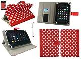 emartbuy Weiß Eingabestift + Universalbereich Polka Dots Rot/Weiß Multi Winkel Folio Executive Wallet Tasche Etui Hülle Cover mit Kartensteckplätze Geeignet für I.onik TP - 1200QC 7.85 Inch Tablet