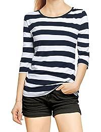 Allegra K Women's Contrast Color Half Length Sleeve Stripes Tops Shirt