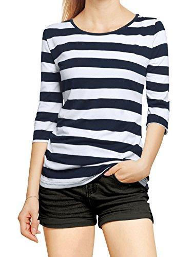 sourcingmap® Allegra K Damen Halbelange Ärmel Kontrastfarbe Streifen T-shirt, Dark Blau Weiß, XS (EU 34) (Weiß Shirt Streifen Blau)