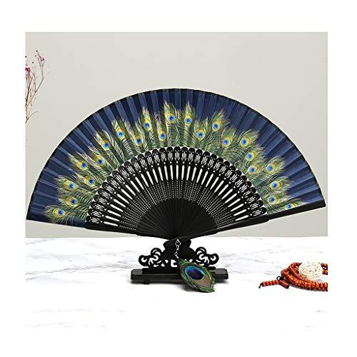 Fan Plegable del Bordado Colorido, Pavo Real del Estilo Chino del Vintage Que sostiene la Fan Famosa...