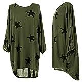 mix_lot Mixlot Frauen Sterne Druck Lagenlook Übergroßen Baggy T-Shirt Damen Tops Bluse Kleid 6-22 (Khaki, XXL 48-50)