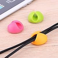 2 en 1 cable de acometida del USB del plomo portacápsulas cable de soporte del cable de alambre organizador pluma agujeros dobles Clip